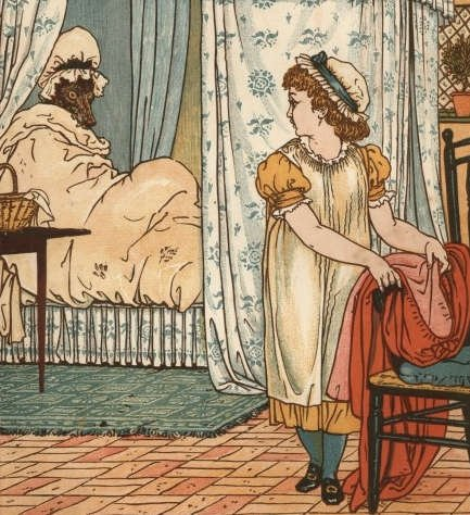 ilustratie cu scufiita rosie facand striptease pentru lup - interpretare psihologica a povestii